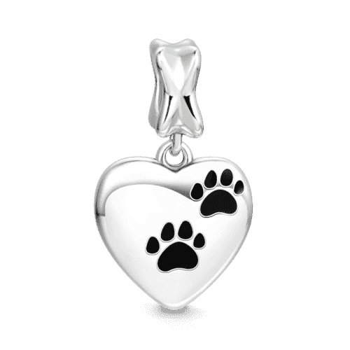 A Dog Leaves Pawprints on Your Heart Charm Silver