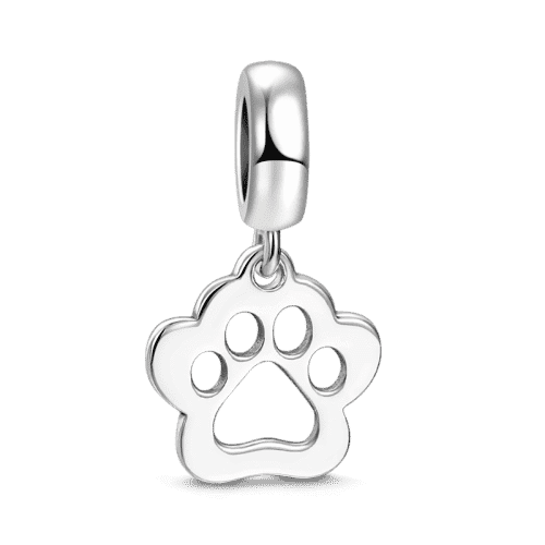 Dog Pawprint Charm Silver