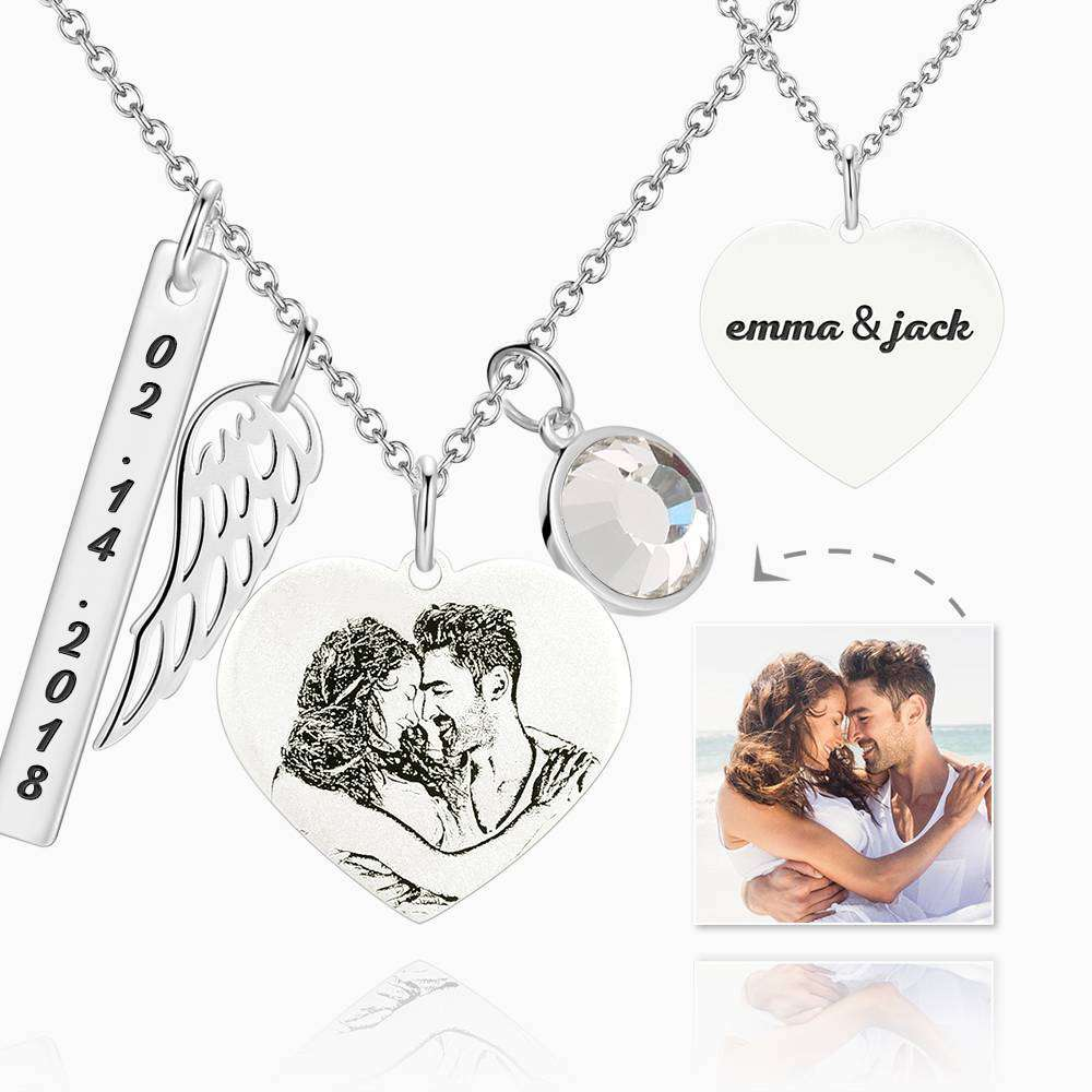 Women's Photo Engraved Tag Necklace with Engraving Silver From CharmSA Image 1