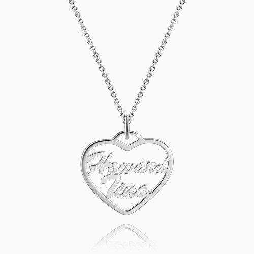 Large Personalized Heart Two Name Necklace Silver