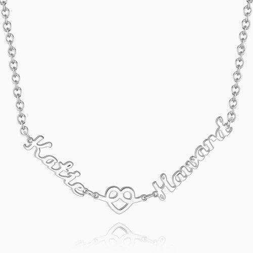 Love Hug Two Name Necklace Silver