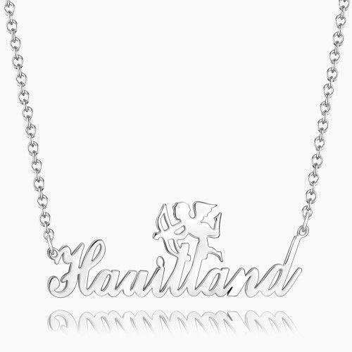 Cupid Name Necklace Platinum Plated Silver