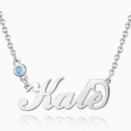 Personalized Birthstone Name Necklace Silver From CharmSA Image 1