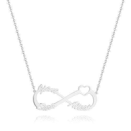 Infinity Three Name Necklace - Silver