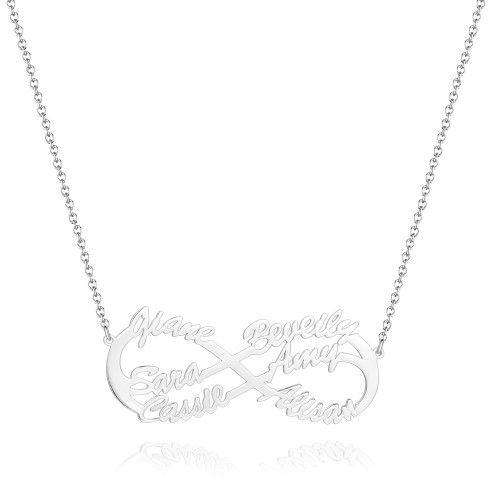 Infinity Six  Name Necklace - Silver