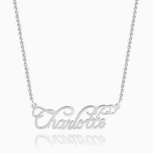 Personalized Cursive Name Necklace Silver
