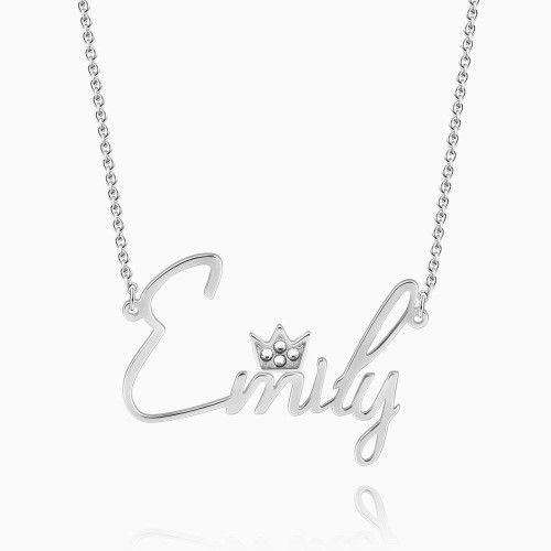 Personalized Swarovski Crystal Name Necklace with Crown Silver From CharmSA Image 1
