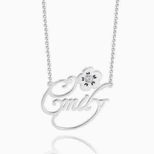 Personalized Swarovski Crystal Name Necklace with Flower Silver