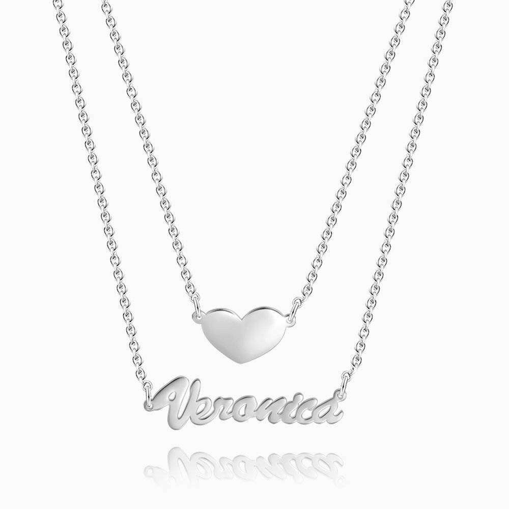 Two Layers Personalized Heart Name Necklace Silver