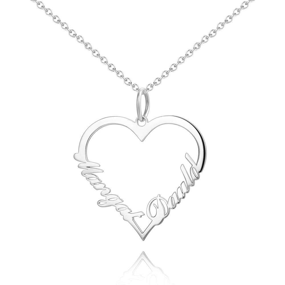 Personalized Heart Two Name Necklace Silver From CharmSA Image 1