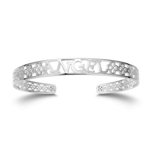 Personalized Hollow Name Bangle Silver From CharmSA Image 1