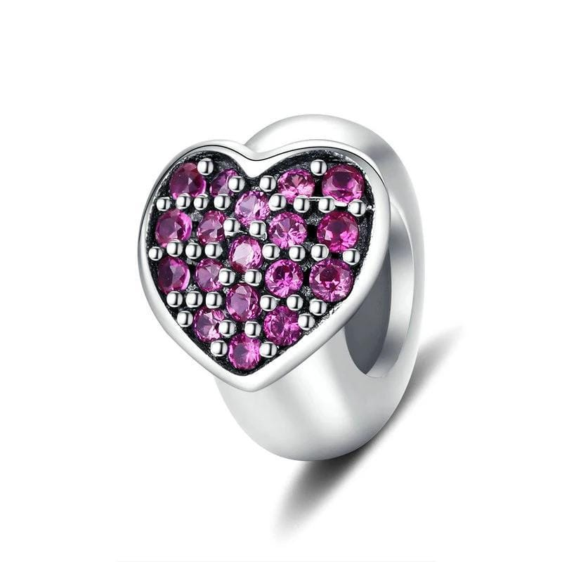 Pandora Compatible 925 sterling silver Purple heart Stopper Charm From CharmSA Image 1