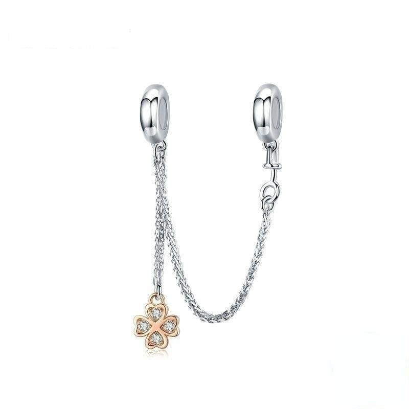 Pandora Compatible 925 sterling silver Clover Safety Chain From CharmSA Image 1