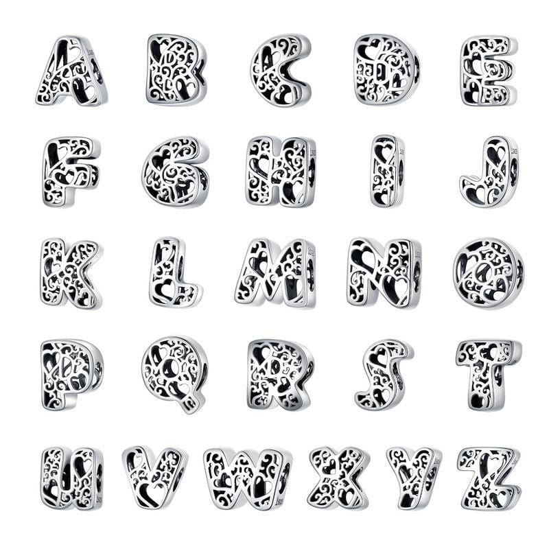 Pandora Compatible 925 sterling silver Alphabet A to Z Charms From CharmSA Image 1