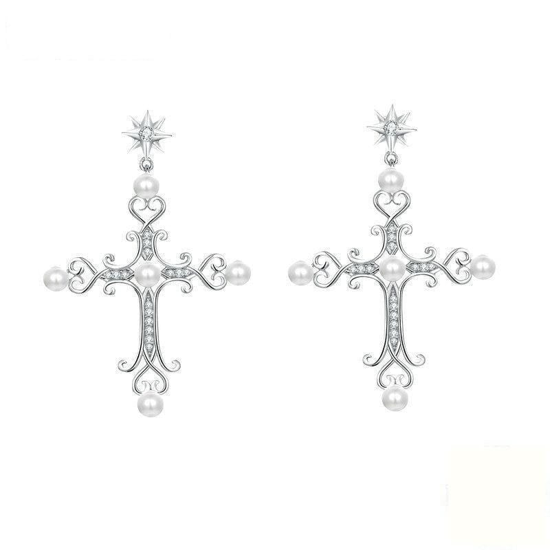 Cross Pearl Earrings