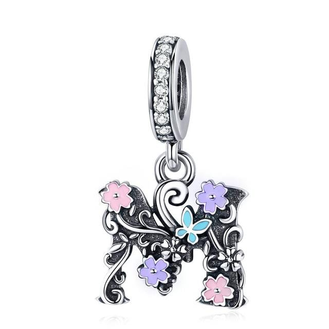 Pandora Compatible 925 sterling silver Flowery Letter M & A Charm From CharmSA Image 2