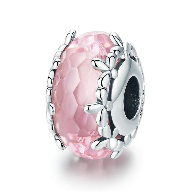 Pandora Compatible 925 sterling silver Pink Flower Glass Charm From CharmSA Image 1