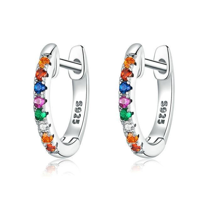 4 Color Sparkling Circle Earrings