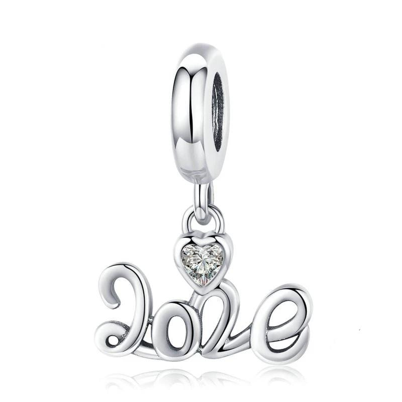 Pandora Compatible 925 sterling silver Love Dangle Charm From CharmSA Image 1