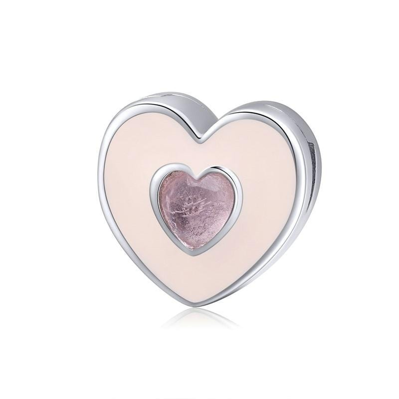 Pandora Compatible 925 sterling silver Double Pink heart Reflexion Flat Charm From CharmSA Image 1
