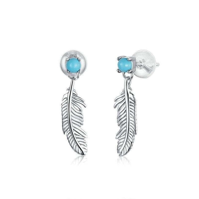 Feather Tiny Drop Earrings