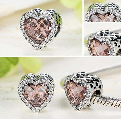Radiant Hearts Brown Charm