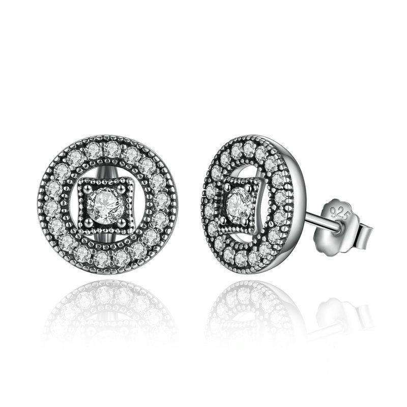 Vintage Allure, Clear CZ Stud Earrings
