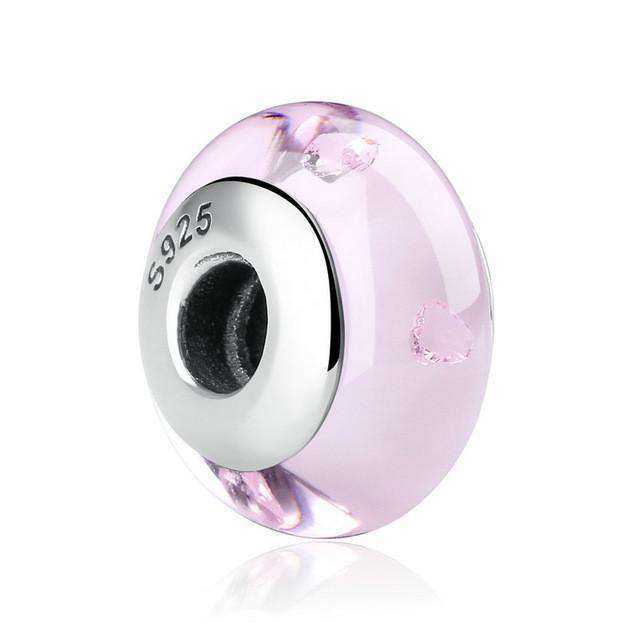 Pandora Compatible 925 sterling silver European Murano Glass Charm - Pink From CharmSA Image 1