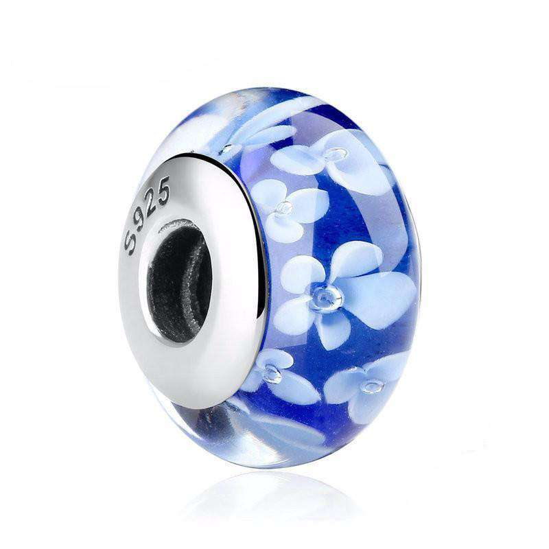 Blue Flower Glass Charm