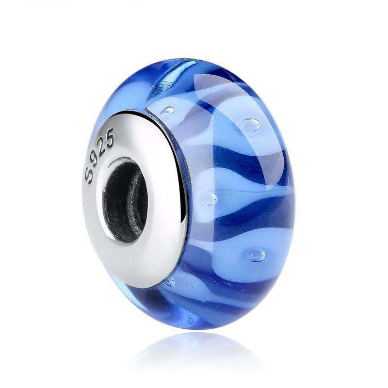Pandora Compatible 925 sterling silver Blue European Glass Charm From CharmSA Image 1