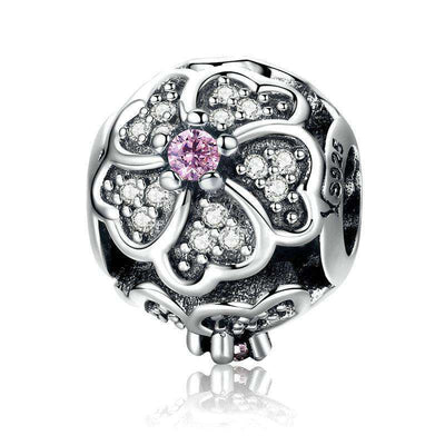 Rose Bouquet Flower Of Love Pink CZ Charm