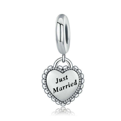 Just Married Engraved Dangle Charm