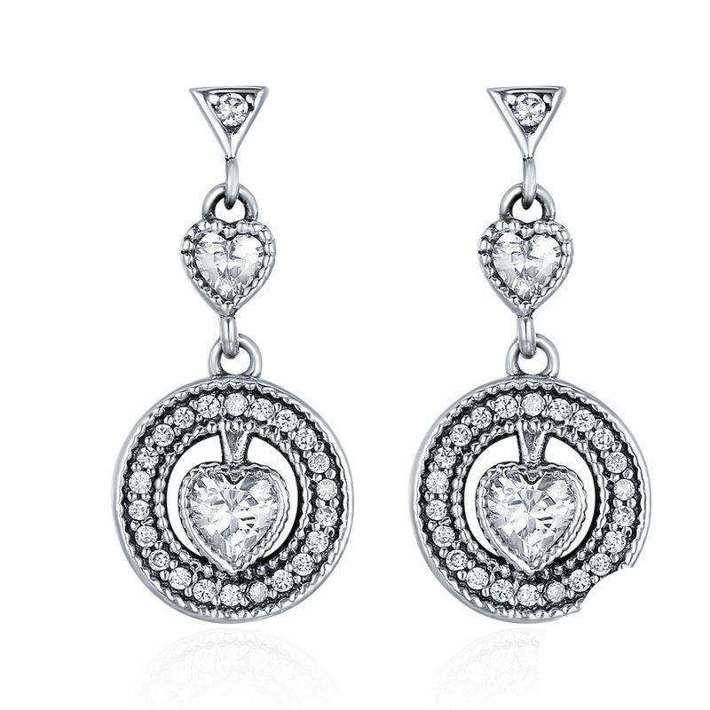Heart Luminous CZ Drop Earrings