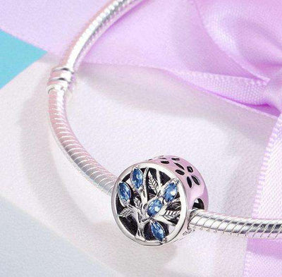 Tree of Life, Light Blue CZ Charm
