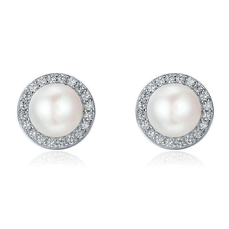 Round Sparking CZ Pearl Stud Earrings From CharmSA Image 1