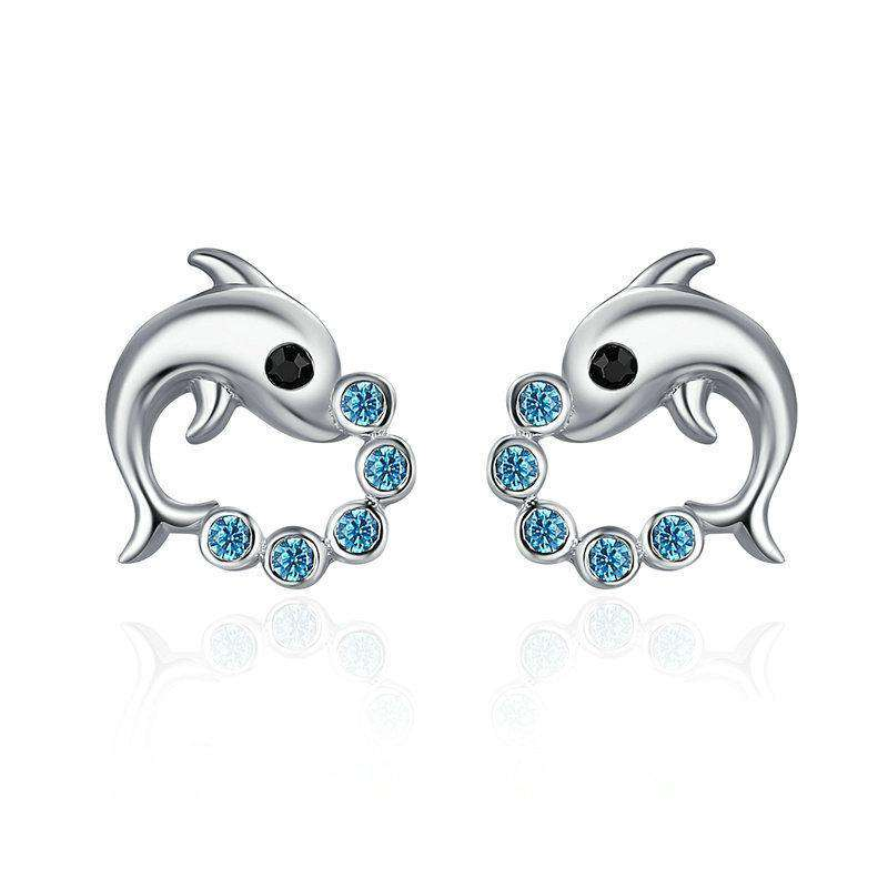 Cute Dolphin Love Ball Stud Earrings