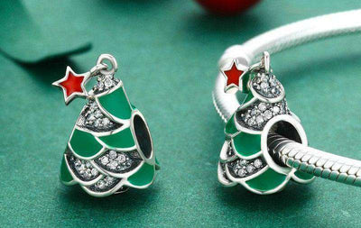 Christmas Tree & Star,Enamel CZ Charm