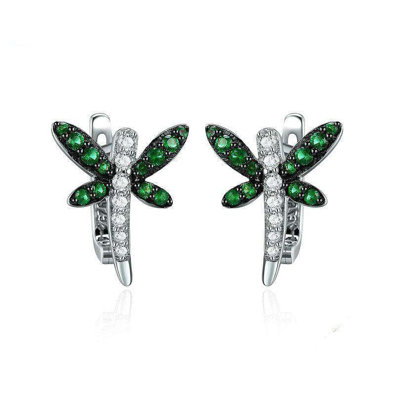 Dragonfly Whispers Clear CZ Hoop Earrings
