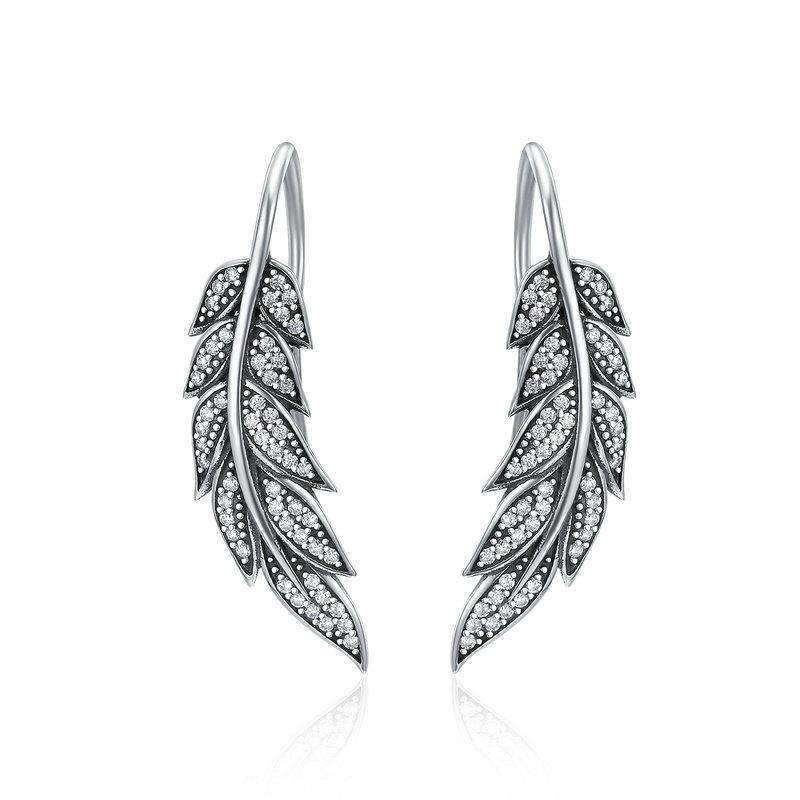 Vintage Feather Wings Long Drop Earrings
