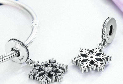 Sparkling CZ Snowflake Dangle Charm