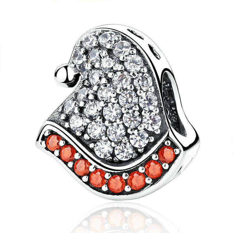Pandora Compatible 925 sterling silver Red & White Christmas Hat CZ Charm From CharmSA Image 1
