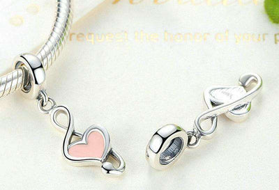 Pink Heart Music Note Charm