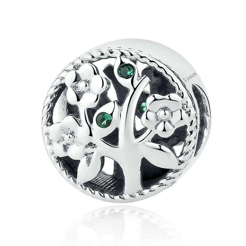 Pandora Compatible 925 sterling silver Tree of Life Green CZ Charm From CharmSA Image 1