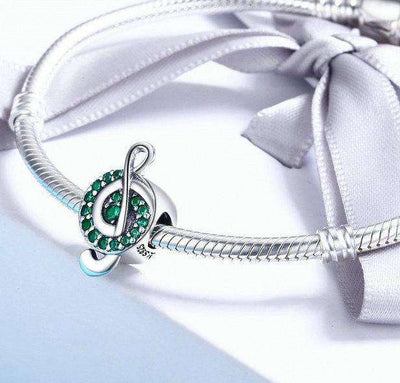 Music Note Green Clear CZ Charm