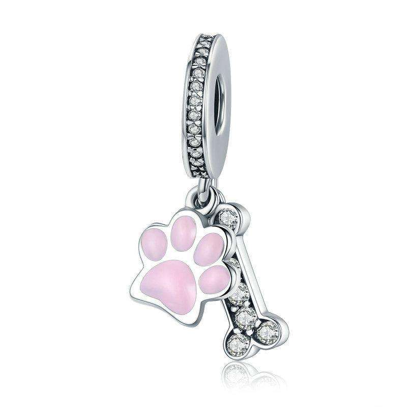 Pandora Compatible 925 sterling silver Animal Dog Footprint & Dog Bone Charm From CharmSA Image 1