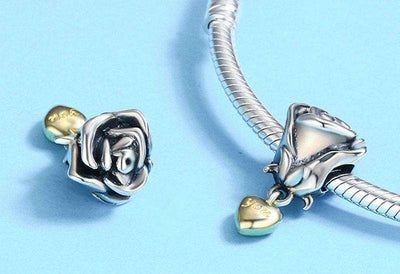 Rose Flower with Heart Dangle Charm