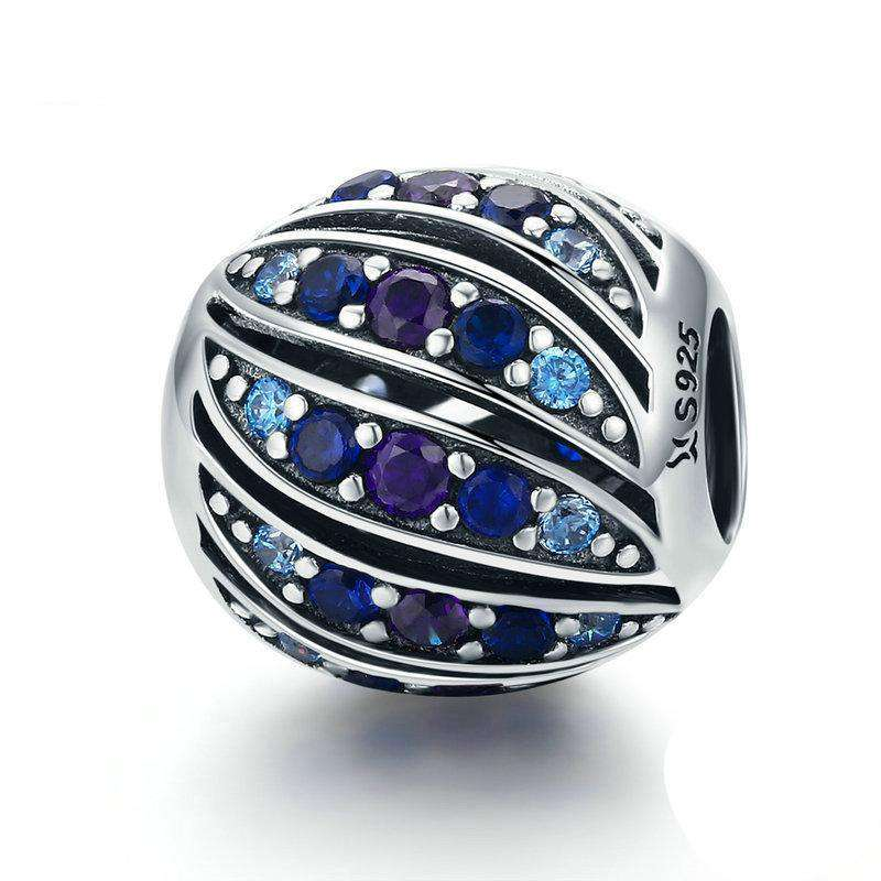 Pandora Compatible 925 sterling silver Peacock Feather Blue CZ Charm From CharmSA Image 1