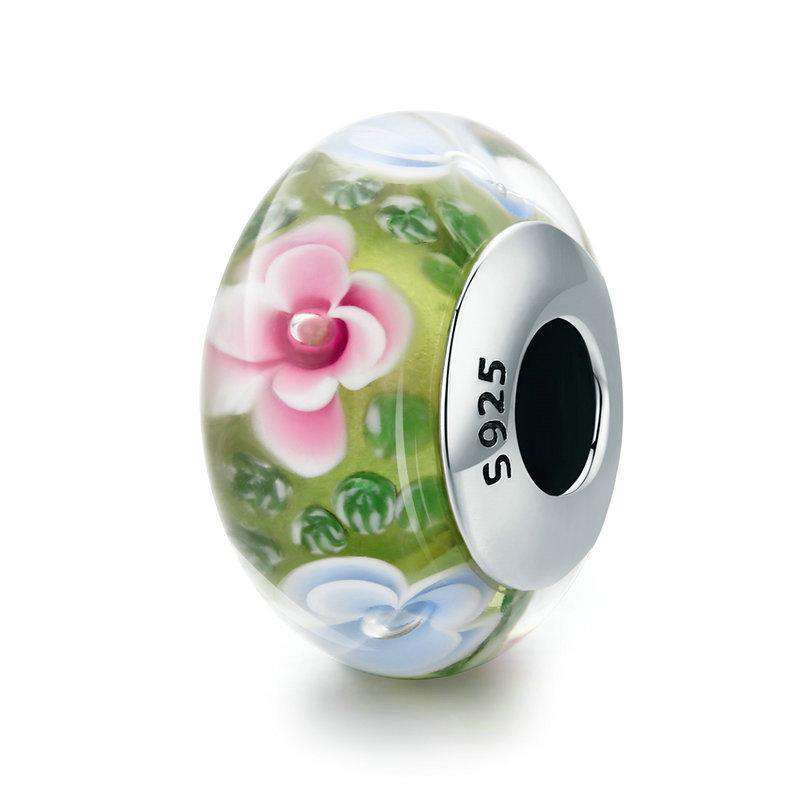 Pandora Compatible 925 sterling silver Flower Petal Green Murano Glass Charm From CharmSA Image 1