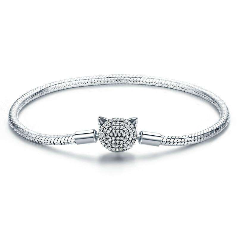 Cute Cat Glittering CZ Snake Chain Bracelet From CharmSA Image 1