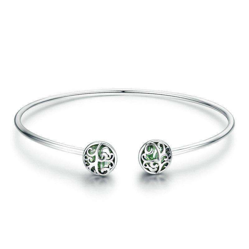 Tree of Life Green Crystal CZ Cuff Bangle